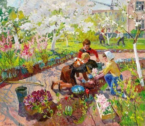 «Сажаем цветы» 1964 - Яблонская Елена Ниловна