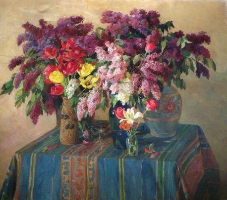 «Сирень и тюльпаны» 1950 - Савич Марк Дмитриевич