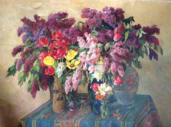 «Сирень и тюльпаны»-Савич Марк Дмитриевич