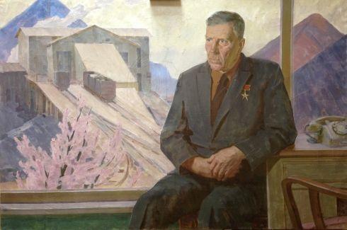 «Портрет героя Социалистического труда Стаханова  А.Г.» 1970 - Черников Владимир Михайлович