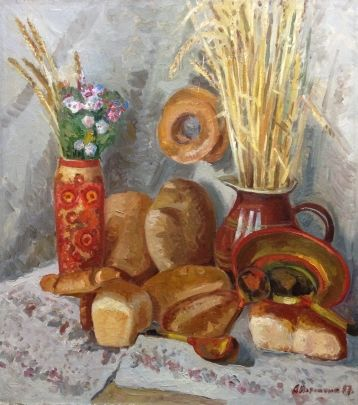 «Натюрморт с хлебами» 1987 - Потапенко Андрей Ильич