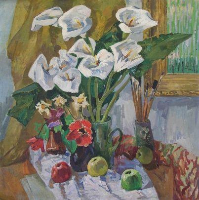 «Натюрморт с каллами» 1987 - Кокин Михаил Александрович