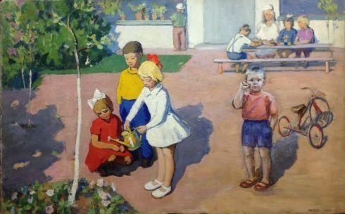 «Поливаем саженцы» 1960 е - Межерицкий Леонид Яковлевич