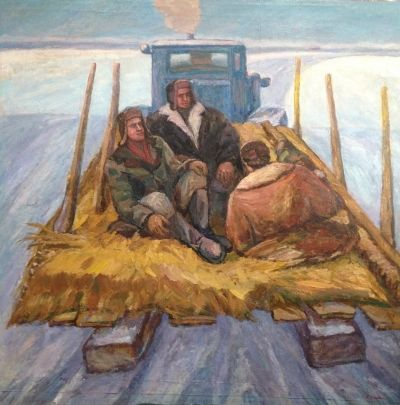 «Зима. (На волокуше)» 1981-1987 - Илюшин Алексей Андреевич