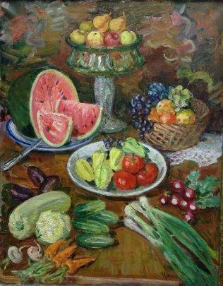 «Натюрморт с овощами и фруктами» 1981 - Усикова Евдокия Григорьевна