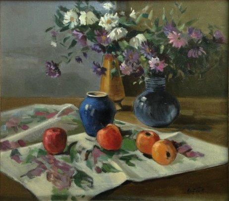 «Натюрморт с синей вазой» 1960 е - Якубек Карел Михайлович