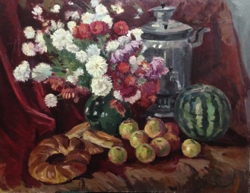 """Still Life with a Samovar"" 1982 - Ishchenko Yury Petrovich"