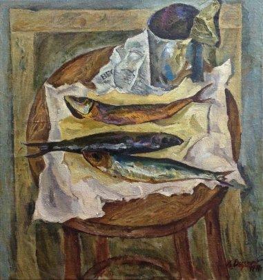 """Still life with fish"" 1970  - Бессараба Леонид Павлович"