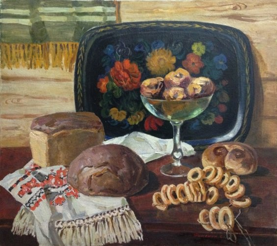 «Натюрморт с хлебами» 1980 е - Фоменок Станислав Федорович
