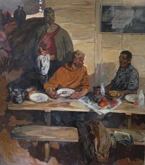 """""""Dinner of tractor drivers"""" end 1950 х- Start 1960 х гг. - Kovzan Viktor Ivanovich"""