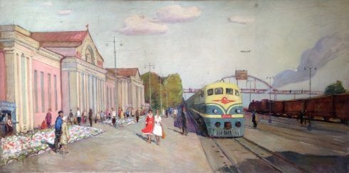 """New roads: the first Electric locomotive TE-2"" 1951 - Gavdzinsky Albin Stanislavovich"