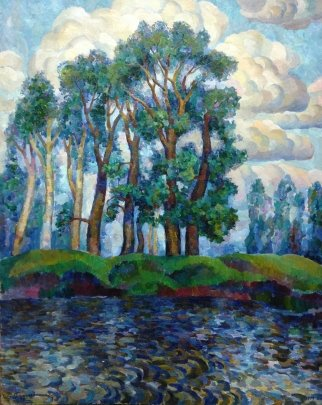 """Trees on the shore"" 1979 - Rudametkin Viktor Petrovich"