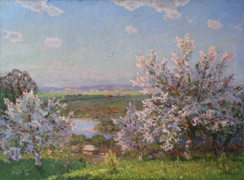 """Blooming garden"" 1960 - Khodchenko Lev Pavlovich"