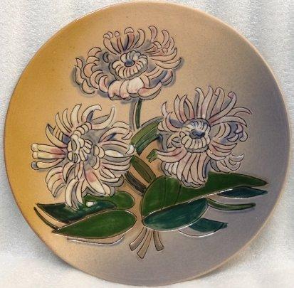 ЛКСФ Декоративная тарелка «Розовые Хризантемы» 1970 е - ЛКСФ Декоративная тарелка «Розовые Хризантемы»