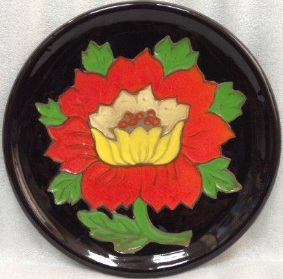ЛКСФ Декоративная тарелка «Красный цветок» 1960 е - ЛКСФ Декоративная тарелка «Красный цветок»