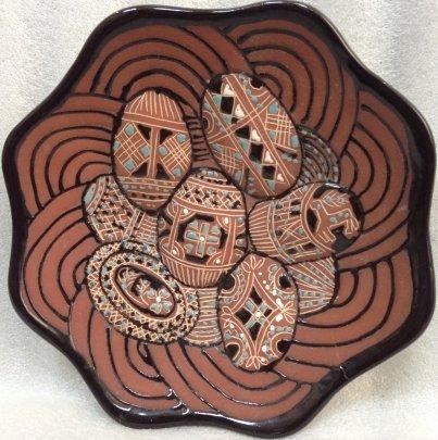 ЛКСФ Декоративная тарелка «Писанки», авторская 1980 е - Курочка Мария Ефимовна