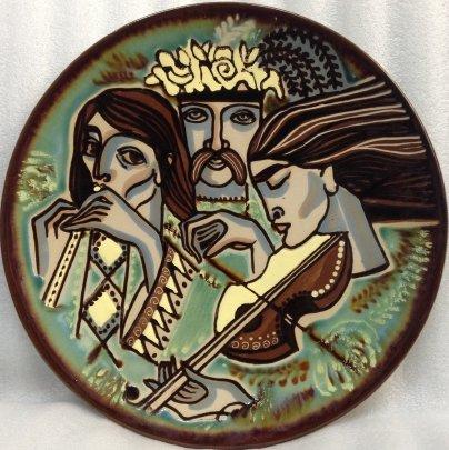 ЛКСФ Декоративная тарелка «Музыканты» 1970 е - ЛКСФ Декоративная тарелка «Музыканты»