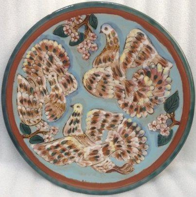 Декоративная тарелка «Три голубя» ЛКСФ 1960 е - Декоративная тарелка «Три голубя» ЛКСФ
