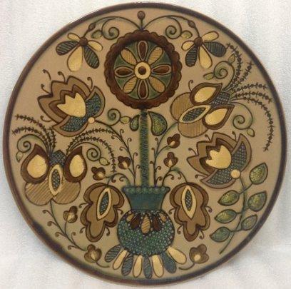 Декоративная тарелка «Цветочный орнамент Вазон» ЛКСФ 1960 е - Декоративная тарелка «Цветочный орнамент Вазон» ЛКСФ