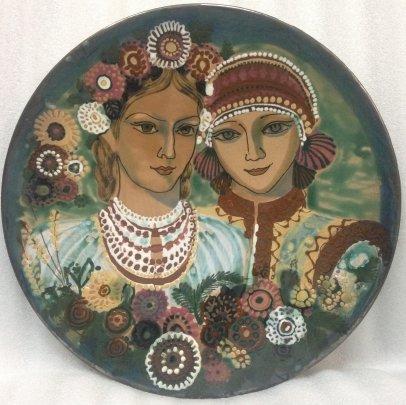 Декоративная тарелка «Украинки» ЛКСФ 1960 е - Декоративная тарелка «Украинки» ЛКСФ