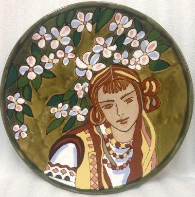 Декоративная тарелка «Украинка. Весна» ЛКСФ 1960 е - Декоративная тарелка «Украинка. Весна» ЛКСФ