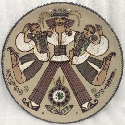 Декоративная тарелка «Гуцульский танец» ЛКСФ 1960 е - Декоративная тарелка «Гуцульский танец» ЛКСФ