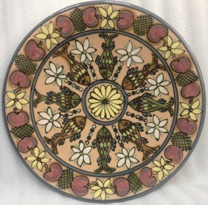 Декоративная тарелка «Орнамент с рыбами» ЛКСФ 1960 е - Декоративная тарелка «Орнамент с рыбами» ЛКСФ