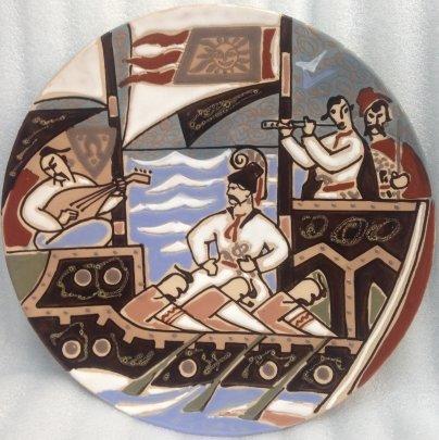 Декоративная тарелка «Запорожские казаки» ЛКСФ 1960 е - Декоративная тарелка «Запорожские казаки» ЛКСФ