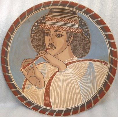 Декоративная тарелка «Гуцул с дудочкой» ЛКСФ 1950 е - Курочка Мария Ефимовна