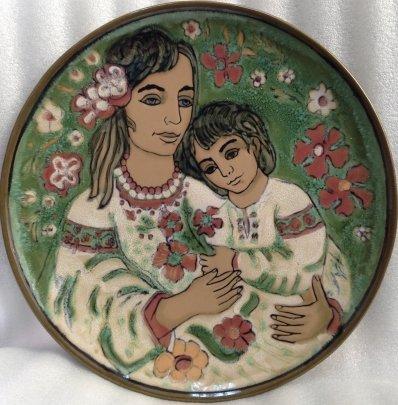 Декоративная тарелка «Мать и Дитя» ЛКСФ 1960 е - Кичула Григорий Федорович