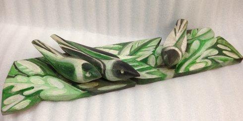 Деревянная скульптура «Птицы и листья» 2008 - Зильберберг Юрий