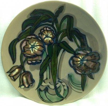 Декоративная тарелка «Тюльпаны» ЛКСФ 1970 е - Декоративная тарелка «Тюльпаны» ЛКСФ