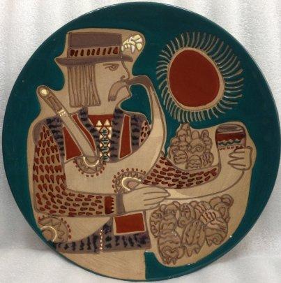 Дтекоративная тарелка «Гуцул с трубкой» ЛКСФ 1970 е - Флинта Зиновий Петрович