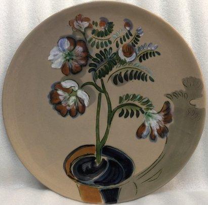 Декоративная тарелка «Цветочный горшок» ЛКСФ 1960 е - Декоративная тарелка «Цветочный горшок» ЛКСФ