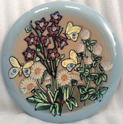 ЛКСФ Декоративная тарелка «Цветы и Бабочки» 1970 е - ЛКСФ Декоративная тарелка «Цветы и Бабочки»