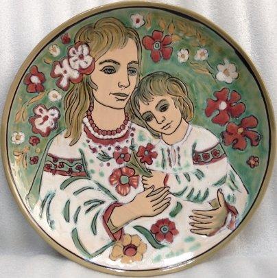 ЛКСФ Декоративная тарелка «Мать и Дитя» 1970 е - Кичула Григорий Федорович