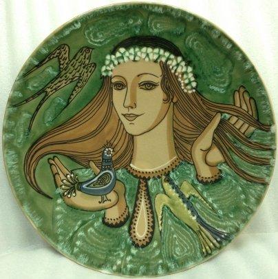 ЛКСФ Декоративная тарелка «Девушка и птицы» 1970 е - ЛКСФ Декоративная тарелка «Девушка и птицы»