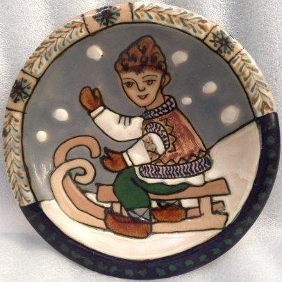 ЛКСФ Декоративная тарелка «На санках» 1960 е - ЛКСФ Декоративная тарелка «На санках»