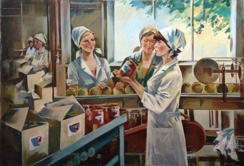 """At the canning factory"" 1985 - Lekareva-Nikitina Galina Viktorovna"