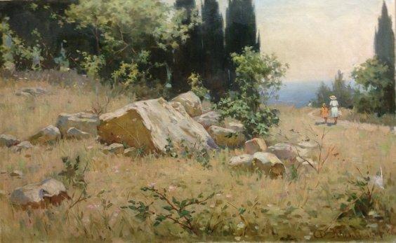 """Crimean landscape-July"" 1966 - Kalmykov Fedor Batyrbekovich"