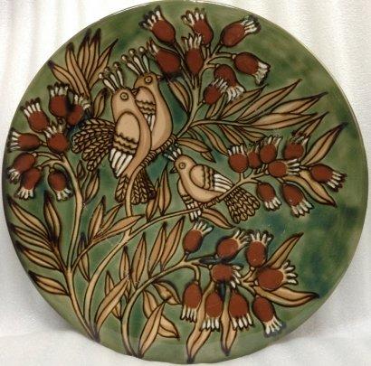 ЛКСФ Декоративная тарелка «Птицы на ветке» 1970 е - ЛКСФ Декоративная тарелка «Птицы на ветке»