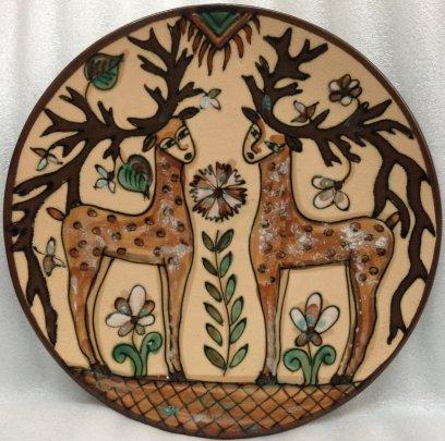 ЛКСФ Декоративная тарелка «Олени» 1970 е - ЛКСФ Декоративная тарелка «Олени»