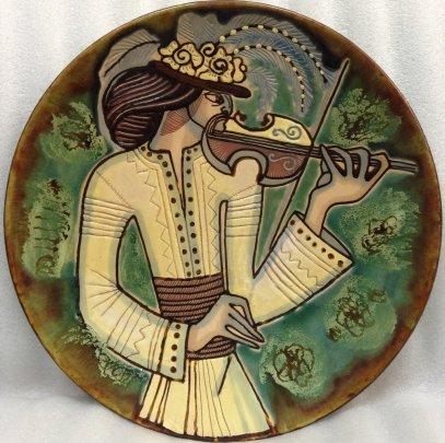 ЛКСФ Декоративная тарелка «Гуцул со скрипкой» 1980 е - ЛКСФ Декоративная тарелка «Гуцул со скрипкой»