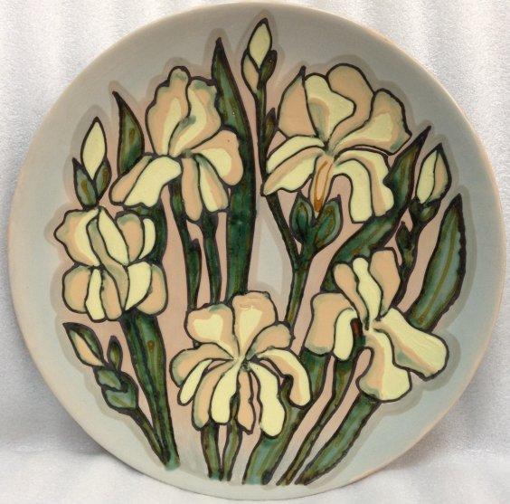 ЛКСФ Декоративная тарелка «Ирисы» 1970 е - ЛКСФ Декоративная тарелка «Ирисы»
