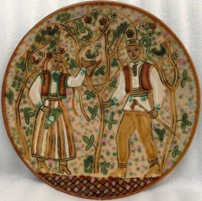 ЛКСФ Декоративная тарелка «В саду» 1970 е - ЛКСФ Декоративная тарелка «В саду»