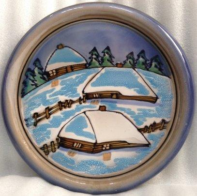 ЛКСФ Декоративная тарелка «Село зимой» 1970 е - ЛКСФ Декоративная тарелка «Село зимой»