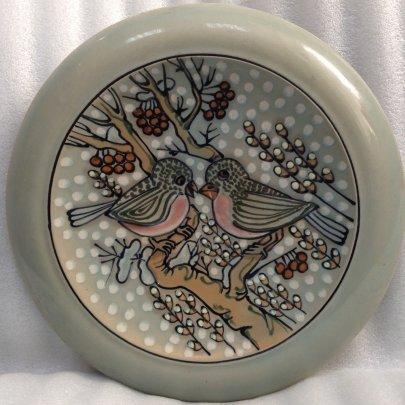 ЛКСФ Декоративная тарелка «Снегири» 1970 е - ЛКСФ Декоративная тарелка «Снегири»
