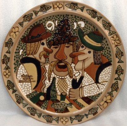 ЛКСФ Декоративная тарелка «Три кума» 1960 е - ЛКСФ Декоративная тарелка «Три кума»