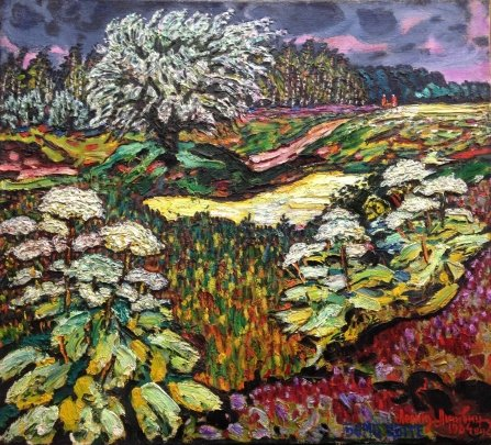 """""""Borshchevik blooms in June."""" Kozhukhovka """" 1984 - Lytvyn Leonid Grigorievich"""