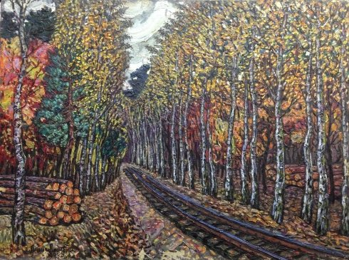 """Monument to the Korchaginsky narrow-gauge railway."" Birch Alley ""(Boyarka Series) 1983 - Lytvyn Leonid Grigorievich"